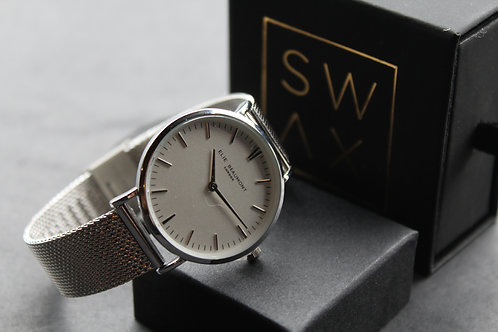 Elie Beaumont Oxford Small Mesh Watch White Dial