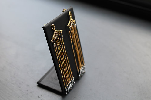 Goldfilled with Silver Coated Hematite Deco Drop Earring