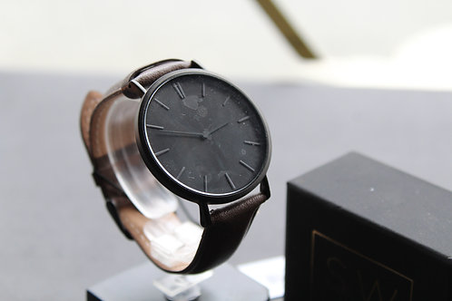 Mr Beaumont Leather Watch Brown strap, Black Face