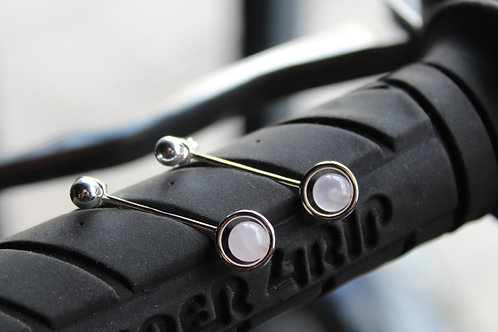 Rose Quartz Circle Bar Jacket Earring