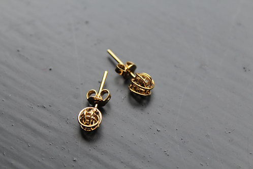 Tiny Hand Woven Gold Knot Studs