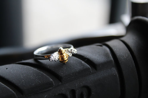 Sterling Silver & Gold Plate Bumble Bee Ring