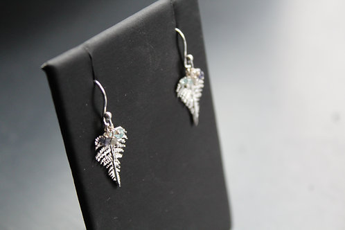 Fern Drop Earrings Silver with Appatite, Labrodorite and Iolite
