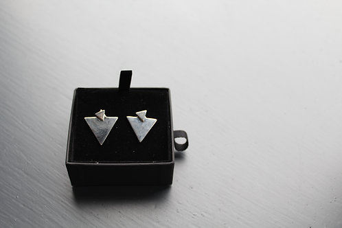 Silver Double Triangle Earring  Studs