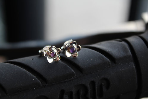 Silver Flower Studs with Amethyst