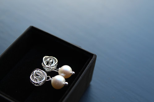 Silver Hand Woven knot  Pearl Drop Earrings
