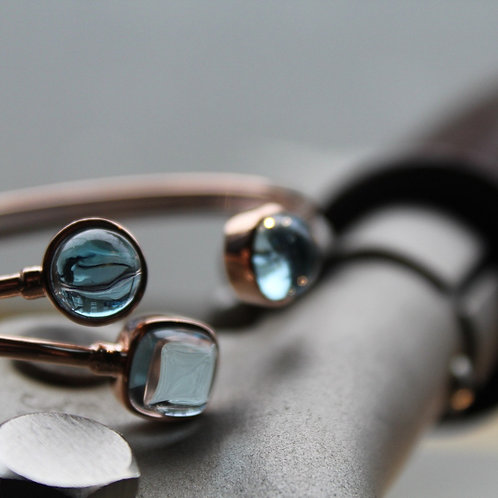 Light Blue Topaz & London Blue Topaz Stone Bangle