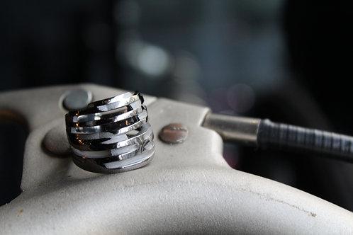 Matte Black Rhodium Multiple Band Ring