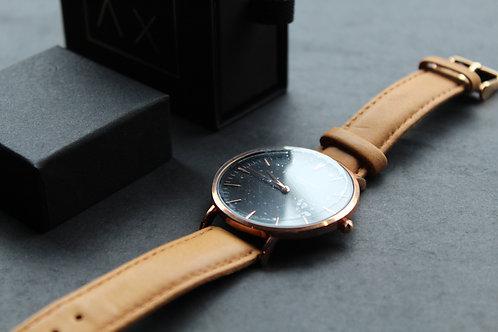 Elie Beaumont Oxford Large Watch Black Dial, Camel Strap