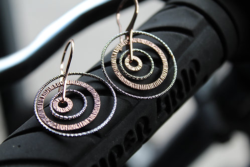 Rose Gold and Silver Burst Circle Earring