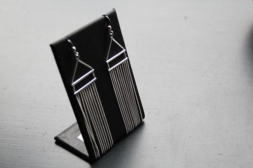 Double Bar and Chain Tassle Drop