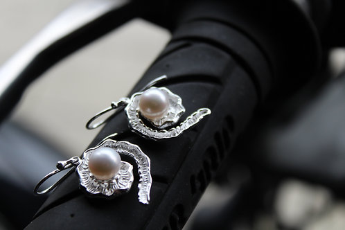 Silver Swirl with Pearl Earrings