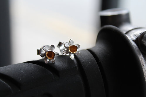 Sterling Silver with Gold Plating Daffodil Studs