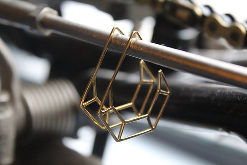 Gold Finish Diamond Geometric Hoop Earrings