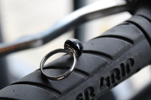 Blue Sandstone Faceted Domed Cocktail Ring