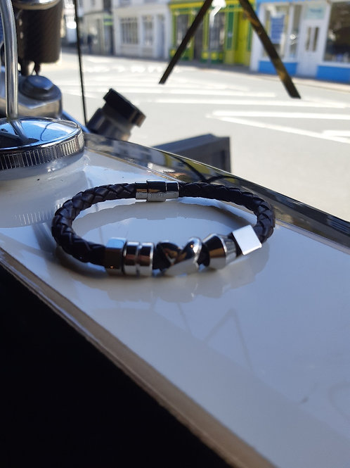 Bolo Leather and Stainless Steel Unisex 5 Charm Bracelet