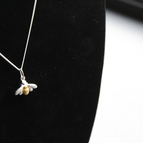 Sterling Silver & Gold Plate Bumble Bee Pendant on Chain