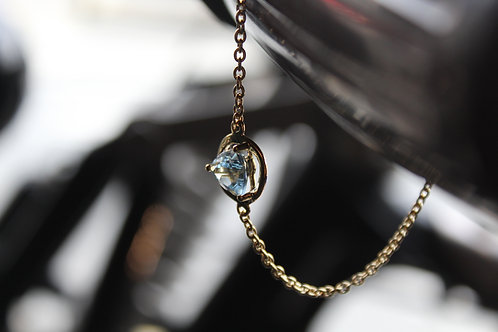 18ct Vermeil Gold Chain Bracelet with Blue Topaz Stone