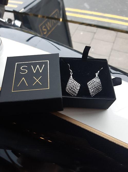 Sterling Silver Diamond Swirl Earrings