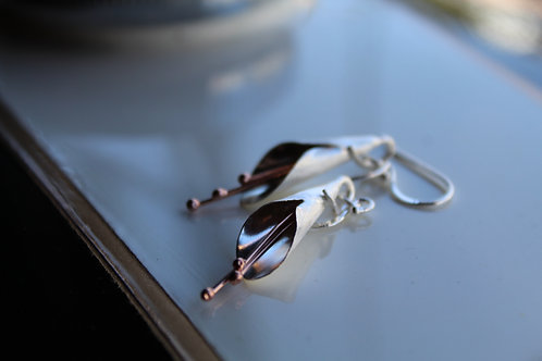 Sterling Silver Long Drop Flower Earrings