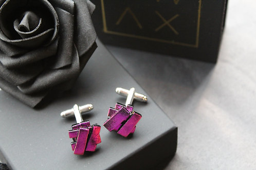 Pink on Black Dichroic Cufflinks