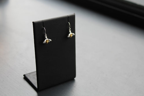 Sterling Silver Bumble Bee Drop Earrings with Gold Plate Detail