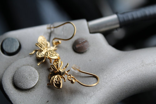22ct Gold Plated Silver Bee Drop Earrings