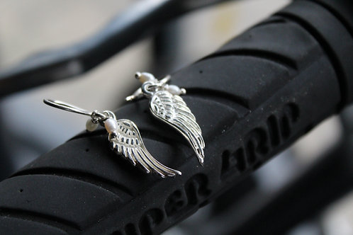 Silver and Pearl Angel Wing Earrings