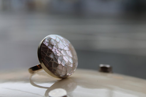 Adjustable Mother Of Pearl Sterling Silver Crackle Ring