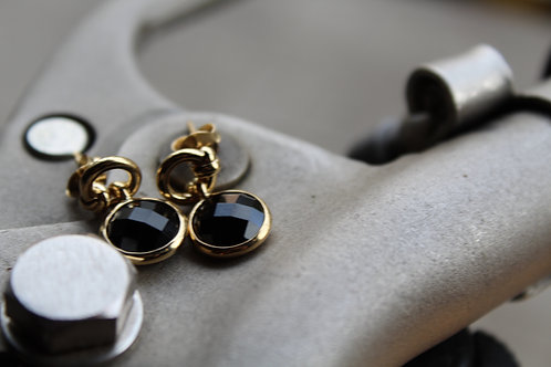 18ct Vermeil Knot Drop Earrings with Black Onyx