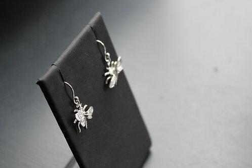 Silver Bee Drop Earrings