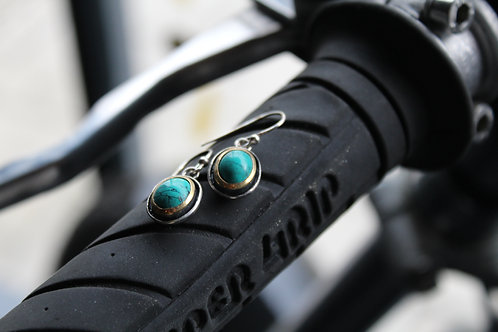 Classical Oval Turquoise Hook Earrings with Gold Plate Frame
