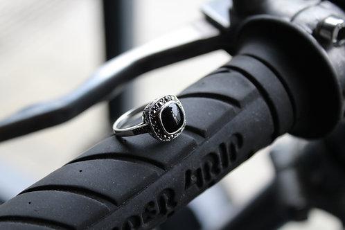 Square Marcasite & Onyx Ring