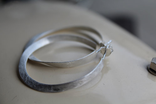Silver Satin Hoop Earrings
