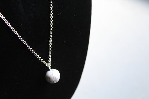 Sterling Silver Howlite Pendant Necklace
