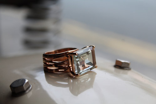 Baguette Cut, Green Amethyst 18ct Vermeil Rose Gold Cocktail Ring