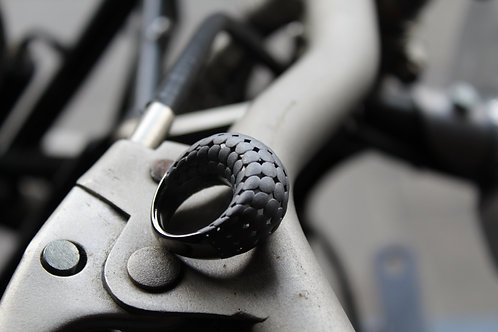 Silver 925 Rhodium Matt Black Statement Ring