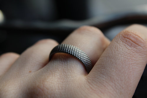 7mm Silver Oxidized Dot Ring