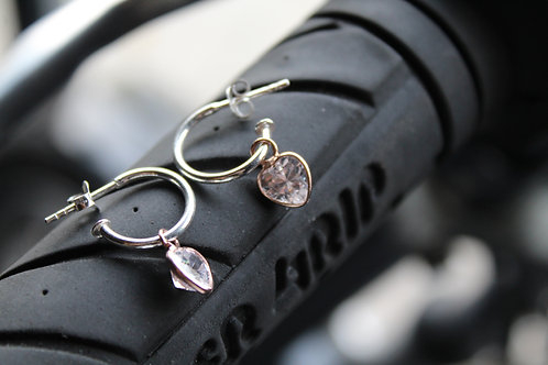 Hook Earring with Rose Gold Heart