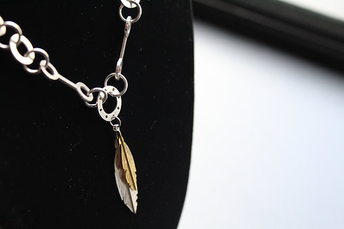 """16"""" Chain with Feather Pendant  & Gold Plated leaf"""