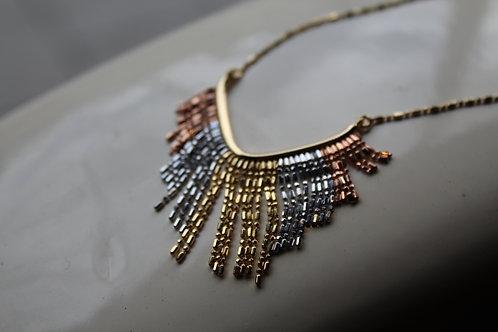 9ct Gold, 3 Colour  Fringe Necklace