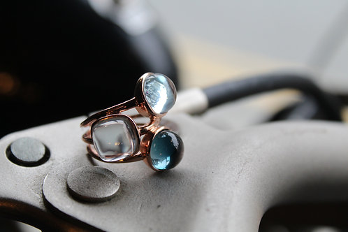 Light Blue Topaz  & London Blue Topaz Cluster Ring