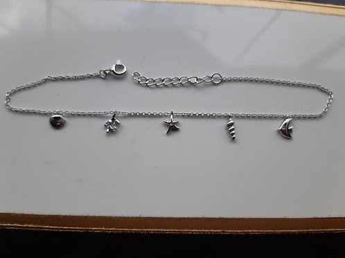 'Under the Sea' Silver Ankle Chain with a fish, starfish, shells and coral