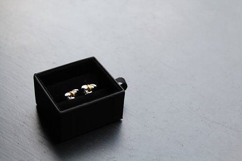 Sterling Silver Bumble Bee Studs with Gold Plate Detail