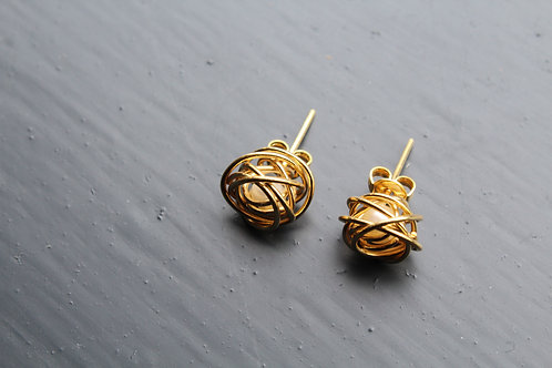 Caged White Pearl Gold Knot Studs