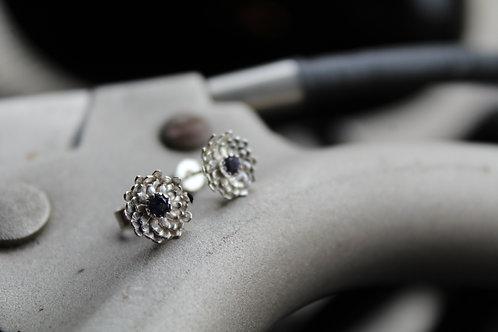 Dahlia and Iolite Stud Earrings - Silver