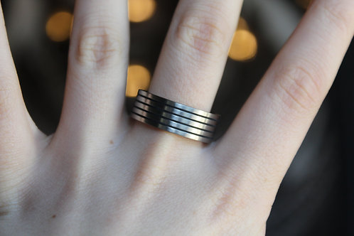 Unisex Tungsten Carbide Ring with Black Enamel Stripes