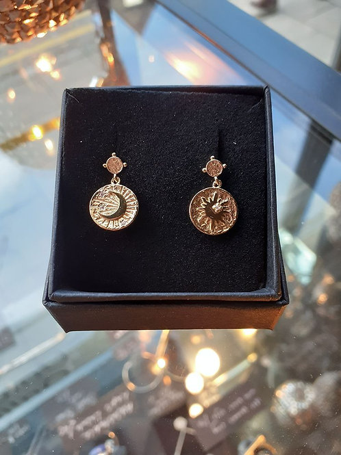 Yellow gold plated sun and moon asymmetric disc with cubic zirconia stud drop