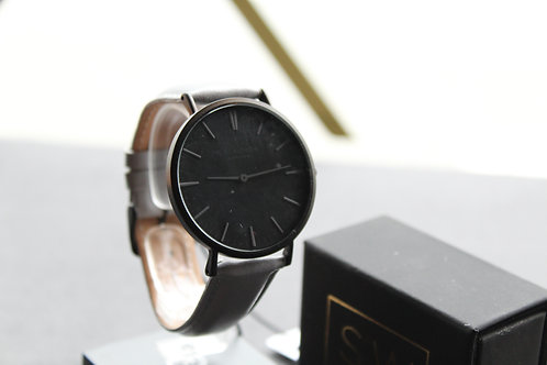 Mr Beaumont Leather Watch, Grey Strap, Black Face