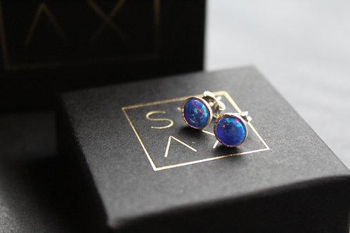 Blue Opal Silver Studs
